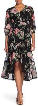 Taylor Floral Chiffon Ruffle Midi Dress (Petite)