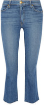 The Great The Nerd Cropped Frayed Mid-rise Flared Jeans