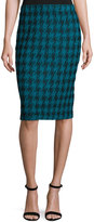 St. John Double-Knit Houndstooth Pull-On Skirt, Blue/Black
