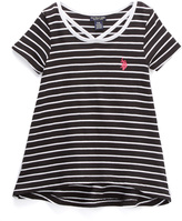 U.S. Polo Assn. Black & White Stripe Hi-Low Tee - Girls