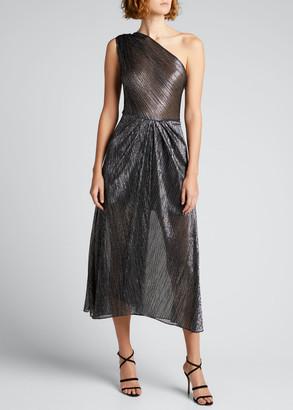 IRO Veiya Shimmery One-Shoulder Cocktail Dress