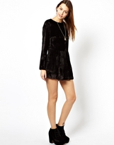 Asos Velvet Playsuit with Long Sleeves