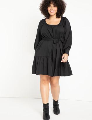 ELOQUII Puff Sleeve Scoop Neck Dress