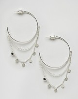 Orelia Statement Coin Drape Hoop Earrings