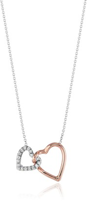 "Roberto Coin Tiny Treasures"" Two tone Double Heart Pendant Necklace"