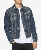 Calvin Klein Jeans Men's Gold Mine Vintage Paint-Splatter Destroyed Denim Trucker Jacket