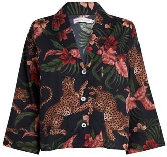 Desmond & Dempsey Tiger Print Pyjama Shirt