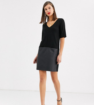 Asos Tall DESIGN Tall shift dress with leather look hem in black