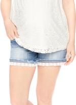 Motherhood Indigo Blue Secret Fit Belly Lace Trim Maternity Shorts