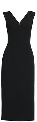 Dolce & Gabbana Stretch Crepe V-Neck Sheath Dress
