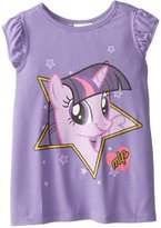 Freeze Little Girls' My Pony Twilight Sparkle Flutter Short Sleeve Top with Chiffon Back Insert