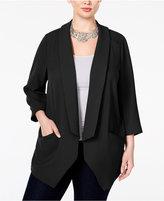 Melissa McCarthy Trendy Plus Size Open-Front Blazer