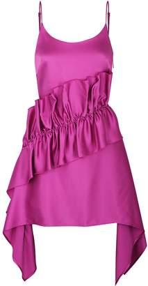 Christopher Kane Pink ruffle-trimmed satin mini dress