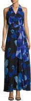 Chetta B Faux-Wrap Floral-Chiffon Maxi Dress, Black/Blue