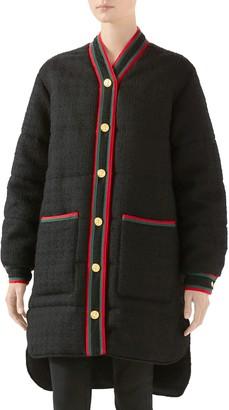 Gucci Padded Wool Blend Tweed Jacket