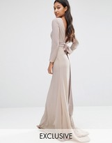 TFNC WEDDING Bow Back Maxi Dress with Long Sleeves