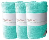 """Plush Microfiber Body/Face Cloth - Dual Action (exfoliate/cleanse): 3 Pk - 12""""x12""""- Soft Cleanse side and Exfoliating Reverse side - Remove Make Up, Dirt, Oil & Dead Skin Cells, Blue"""