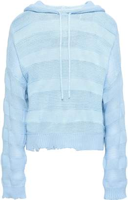 RtA Distressed Open And Ribbed-knit Cotton Hooded Sweater