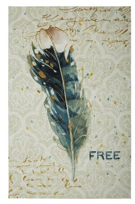 Bungalow Rose Engler Free Feather Power Loomed Ivory/Teal/Gold Area Rug Rug Size: Rectangle 5' x 8'