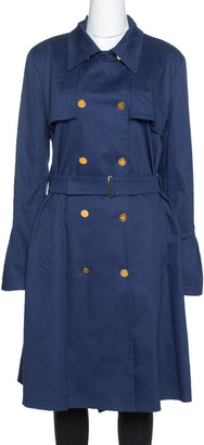 Roberto Cavalli Midnight Blue Cotton Double Breasted Belted Coat L