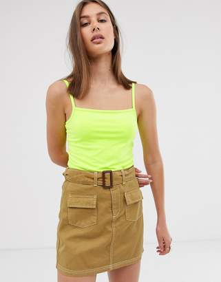 Weekday square neck cami top in neon green
