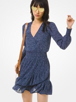 MICHAEL Michael Kors Floral Twill Ruffled Dress