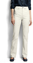 Lands' End Women's Petite High Rise Straight Jeans - Garment Dye-Flax