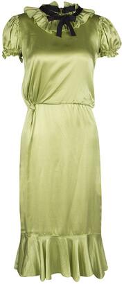 Dolce & Gabbana Green Satin Ruffle Trim Tie Detail Midi Dress S
