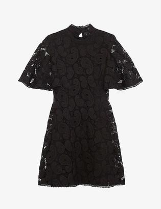 The Kooples Frill-detail paisley lace mini dress