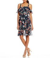 Eliza J Floral Ruffle Cold Shoulder Dress