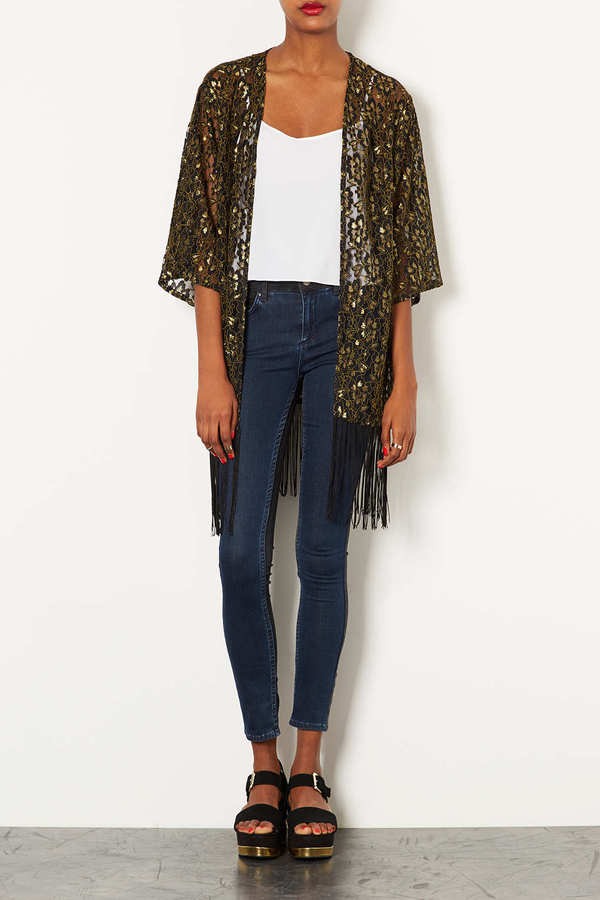 Topshop Lace Fringe Kimono