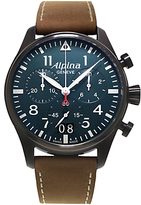 Alpina Al-372n4fbs6 Startimer Pilot Big Date Leather Strap Watch, Brown/blue