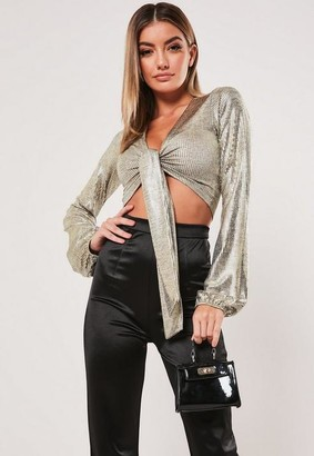Missguided Gold Foil Tie Front Crop Top