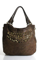Treesje Brown Leather Distressed Gold Tone Large Unstructured Hobo Bag