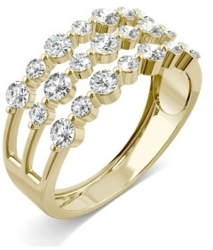 Charles & Colvard Moissanite Three Row Fashion Band 9/10 ct. t.w. Diamond Equivalent in 14k Yellow Gold