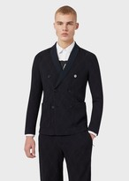 Emporio Armani Double-Breasted Jacket In Diamond-Pattern Jacquard.