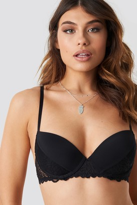 NA-KD Lace Detail Padded Cup Bra Black