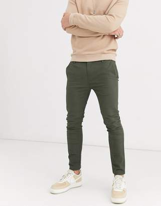Burton Menswear super skinny chinos in dark khaki-Green
