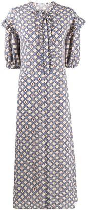 VIVETTA Geometric-Print Ruffled Midi Dress