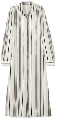 Jil Sander Striped Washed-silk Midi Shirt Dress