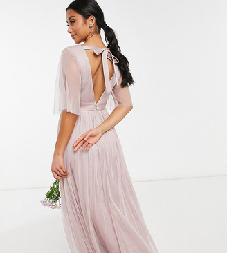 Anaya Petite Anaya With Love Petite Bridesmaid tulle flutter sleeve maxi dress in pink