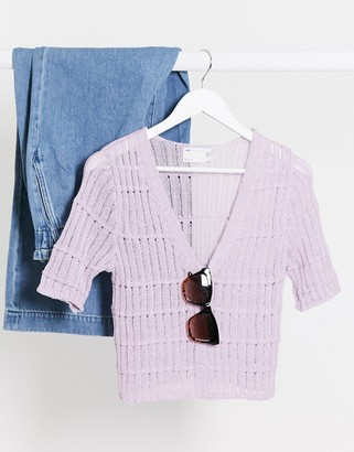 ASOS DESIGN cardigan with short sleeve in lilac