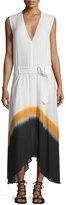 A.L.C. Deloro Silk Tie-Dye Maxi Dress, White/Orange/Navy