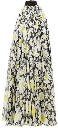 Richard Quinn Halterneck Daisy-print Chiffon Dress - Womens - Black Yellow