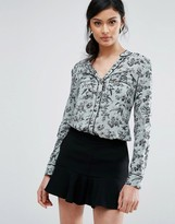 Oasis Contrast Piped Bird Print Shirt