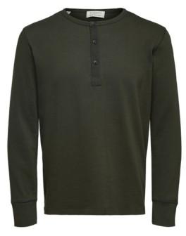 Selected Men's Long Sleeve Split Neck Henley T-Shirt
