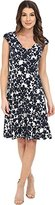 London Times Women's Shirred Shoulder Printed Jersey Fit-and-Flare Dress