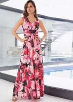 Together Ruched Detail Print Maxi Dress