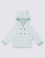 Marks and Spencer Pure Cotton Hooded Chunky knit Cardigan