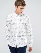 Ps By Paul Smith Paul Smith Shirt With All Over Leaf Print In Tailored Slim Fit White